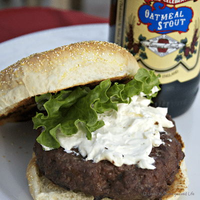 Bison Beer Burgers with Blue Cheese Garlic Spread - {i love} my ...