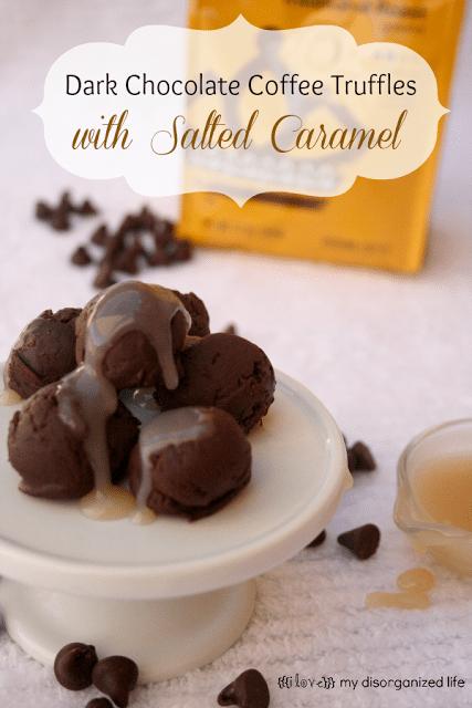 Dark Chocolate Coffee Truffles with Salted Caramel