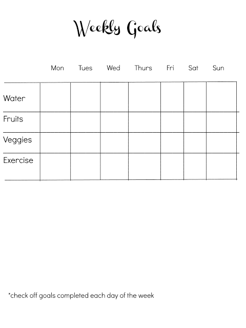Easy Goal Sheet {for aiding weight loss}