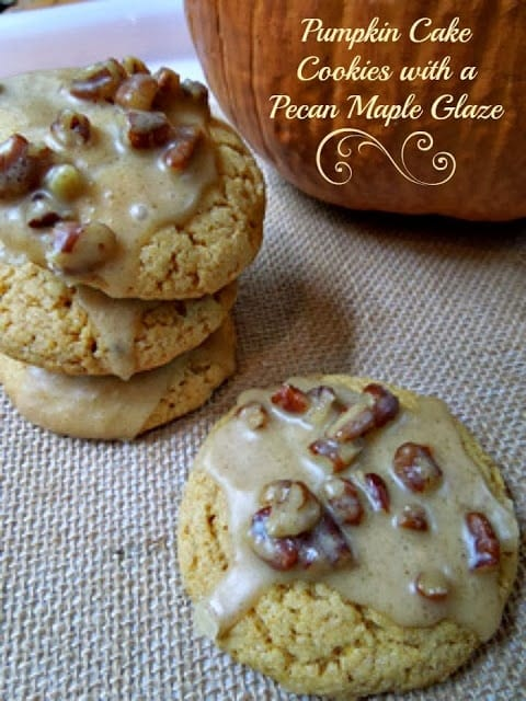 Pumpkin Cake Cookies, Cake Cookies, Maple Glaze, Maple Icing, Pecan ...