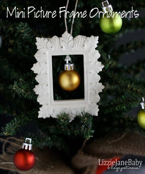 these mini picture frame ornaments are so easy to put together and look so cute on the tree especially a mini tree