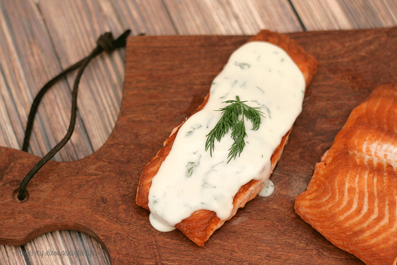 Seared Salmon Steaks with Creamy Dill Sauce