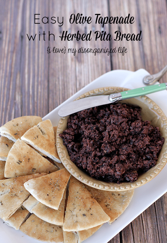 Easy Olive Tapenade with Herbed Pita Bread - the perfect weekend appetizer