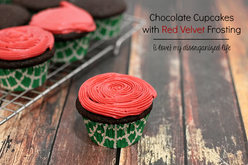 Moist, rich flavor makes these chocolate cupcakes irresistible! The red velvet frosting makes them festive!