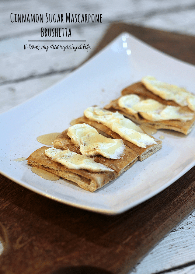 These sweet and crispy cinnamon sugar pita slices are topped with mascarpone cheese and drizzled with honey!