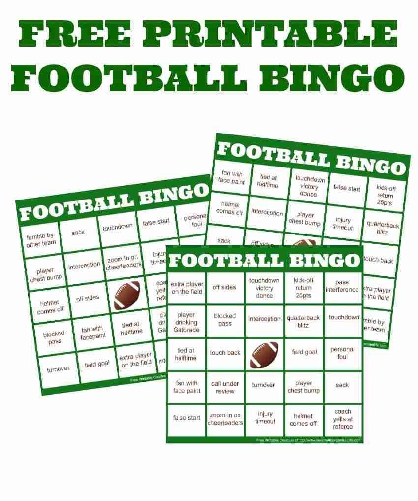 easy football watching football bingo cards. Black Bedroom Furniture Sets. Home Design Ideas