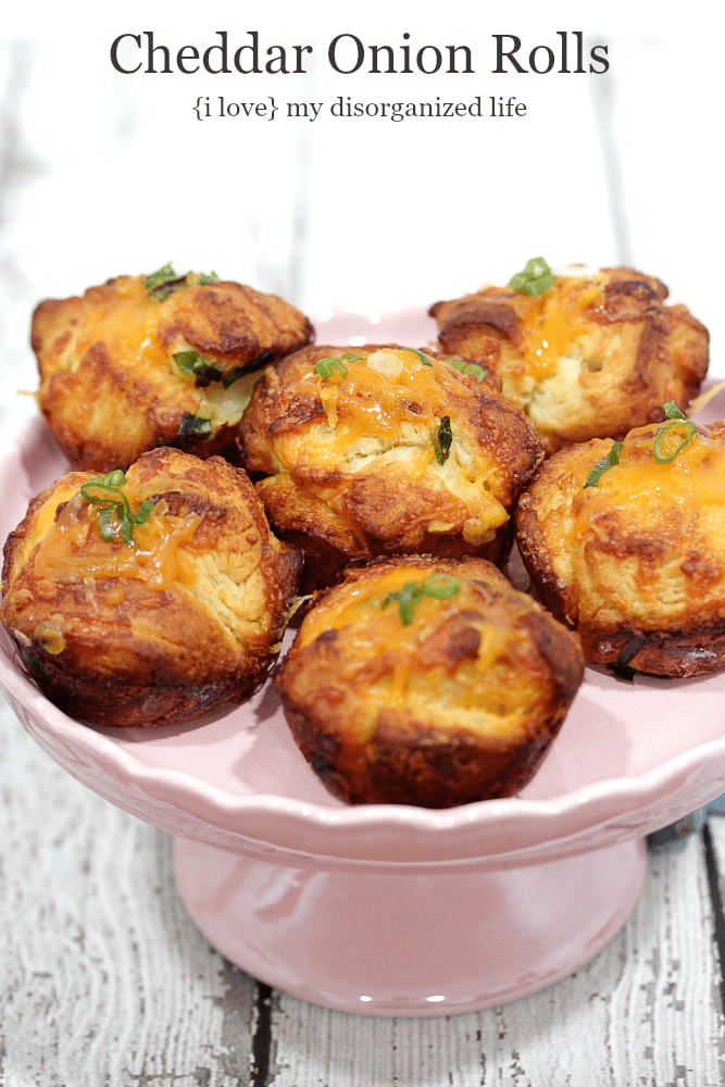 These easy, cheesy cheddar onion rolls are the perfect compliment to any meal!