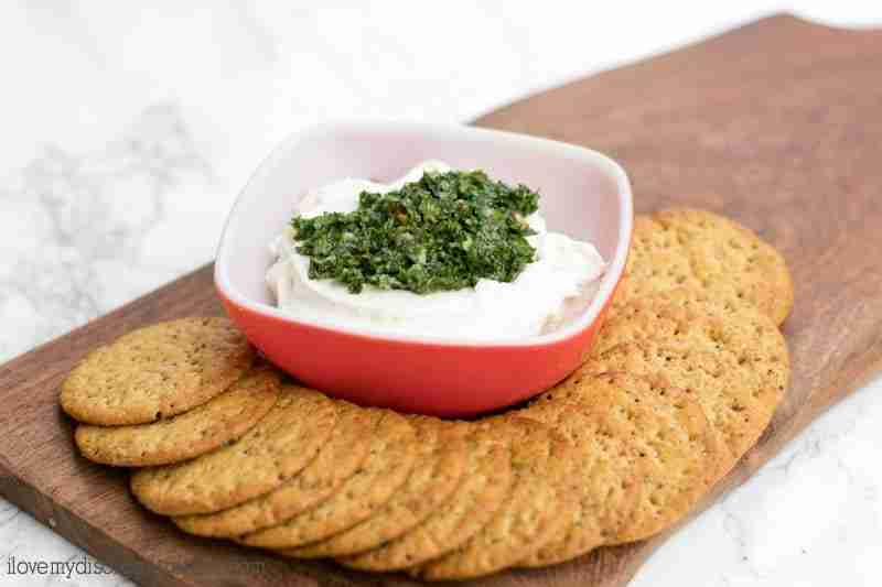 Chimichurri cream cheese spread has a delicious nutty roasted garlic flavor and is perfect for entertaining or a poolside picnic.
