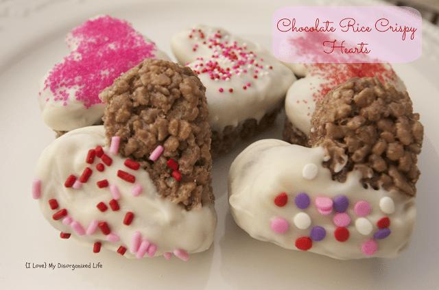 Chocolate Rice Crispy Hearts/ {I Love} My Disorganized Life #ricecrispys #hearts #chocolate