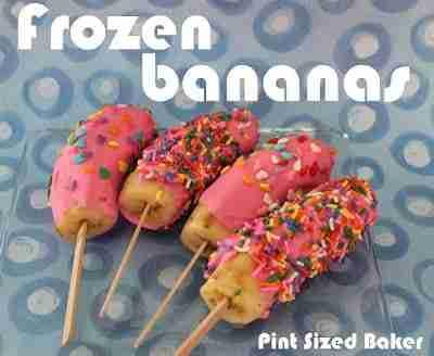 Frozen Bananas dipped in sprinkles kid-friendly snacks