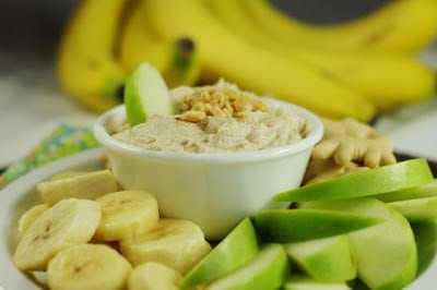 Peanut Butter Greek Yogurt Fruit Dip from The Kitchen is My Playground