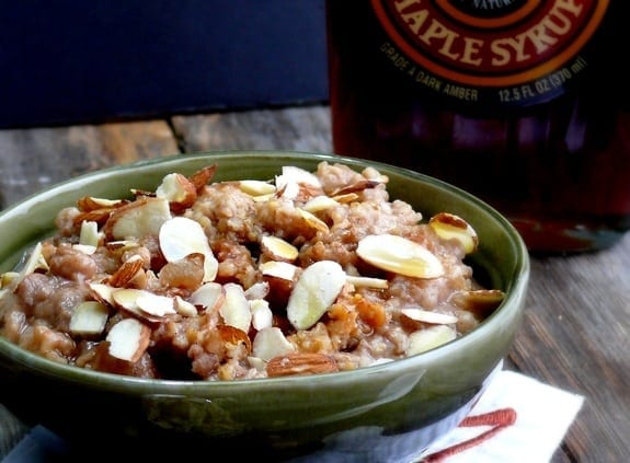 Slow Cooked Chinese Five Spice Steel Cut Oats with Maple Syrup