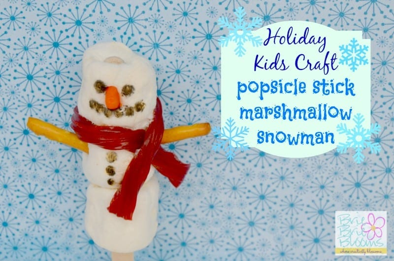 Holiday Kids Craft Popsicle Stick Marshmallow Snowman