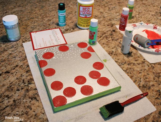 diy christmas card art paint sides