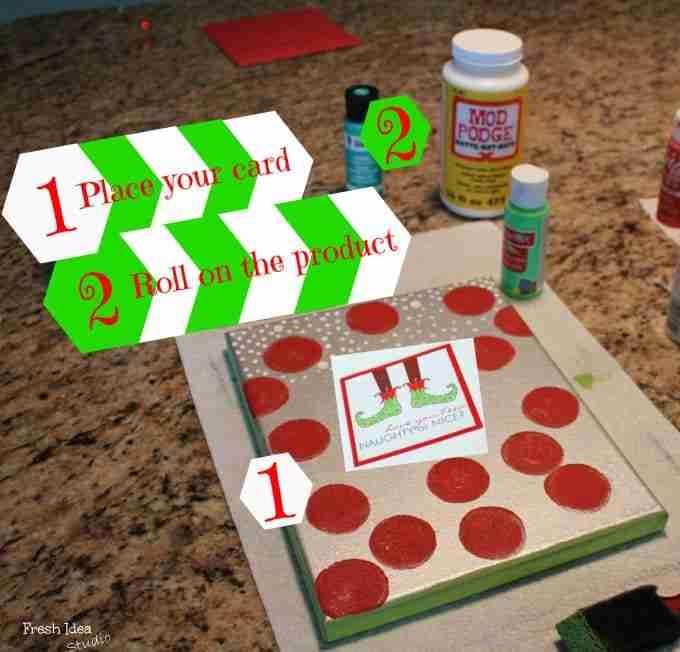 diy christmas card art steps 1 and 2