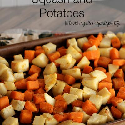 Roasted Butternut Squash and Potatoes #squash #thyme #roastedpotatoes