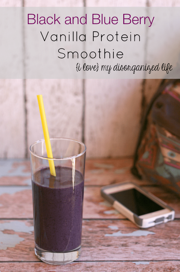Black and Blue Berry Vanilla Protein Smoothie for a quick and nutritious breakfast on the go #smoothie #quickbreakfast