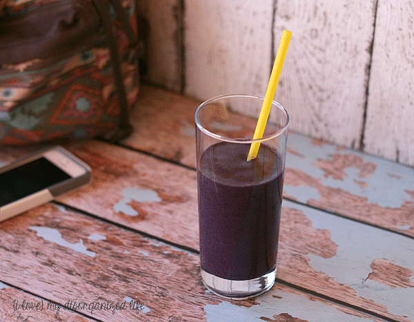 Black and Blue Berry Vanilla Protein Smoothie for a quick and nutritious breakfast on the go