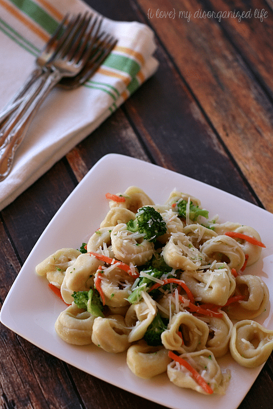 Three Cheese Tortellini Pasta Primavera- little prepwork with maximum flavor reward