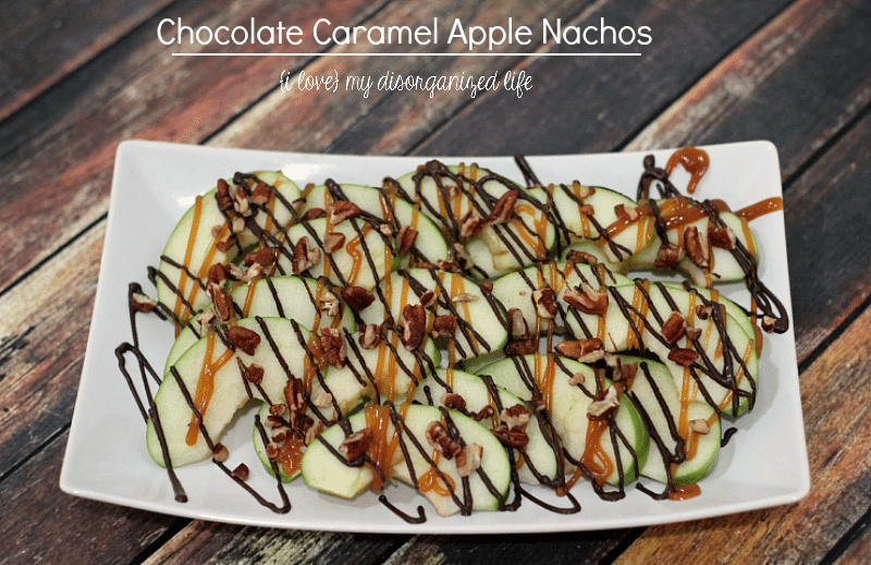 Sweet and a little salty, these chocolate caramel apple nachos take mere minutes to make and are a perfect snack or dessert!