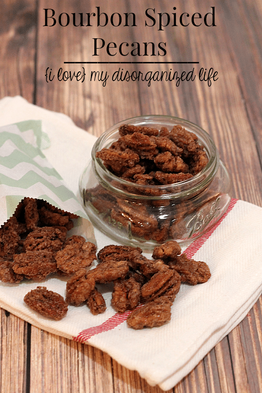 Coated with a deliciously sweet & crunchy rum coating, these Bourbon Spiced Pecans make a perfect treat or homemade gift!