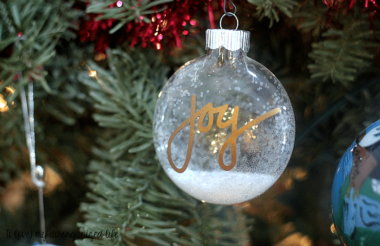 This easy JOY tree ornament is a quick craft you can make to add to your Christmas tree or as a cute addition to a gift bag or wrapped present.