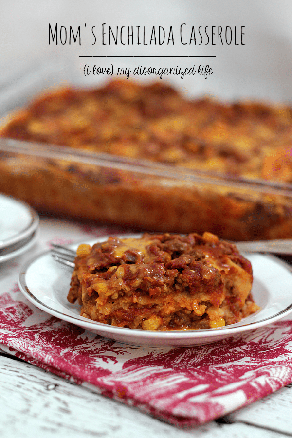 Slightly spicy and packed with beef and cheese, this enchilada casserole is a family meal everyone will enjoy!