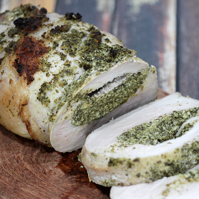 Basil Pesto Stuffed Pork Loin | {i love} my disorganized life
