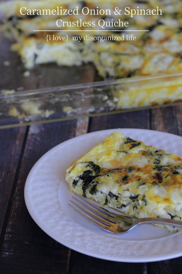 Just 4 ingredients, including lots of cheese, makes this crustless quiche irresistible!
