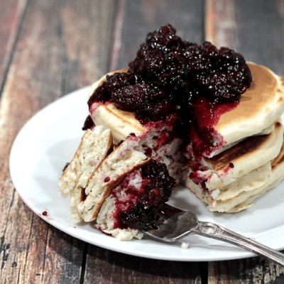 Homemade blackberry pancakes - fluffy pancakes topped with homemade blackberry compote.