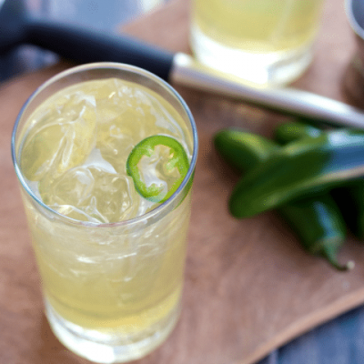 This slightly spicy twist on a Lynchburg lemonade is a balanced combo of sweet and sour- perfect for sipping on the patio or by the pool!