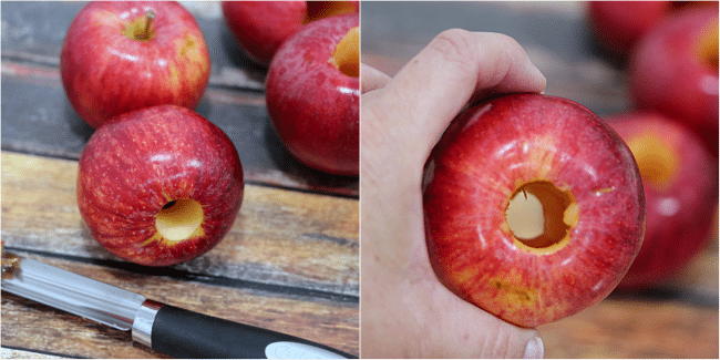 red apple with the core removed