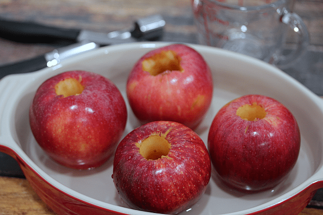 Cored apples ready to be filled and baked