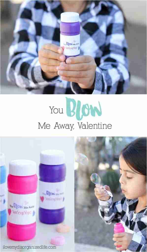 "Valentine's Day bubbles with a label on the bottle that reads, ""You blow me away Valentine!"" - Everyone loves bubbles, so giving them as a Valentine makes perfect sense, right?"