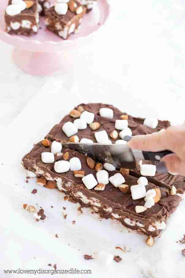 Rocky road fudge is loaded with real marshmallows, nuts and no sweetened condensed milk. Family and friends will be asking for it again and again.