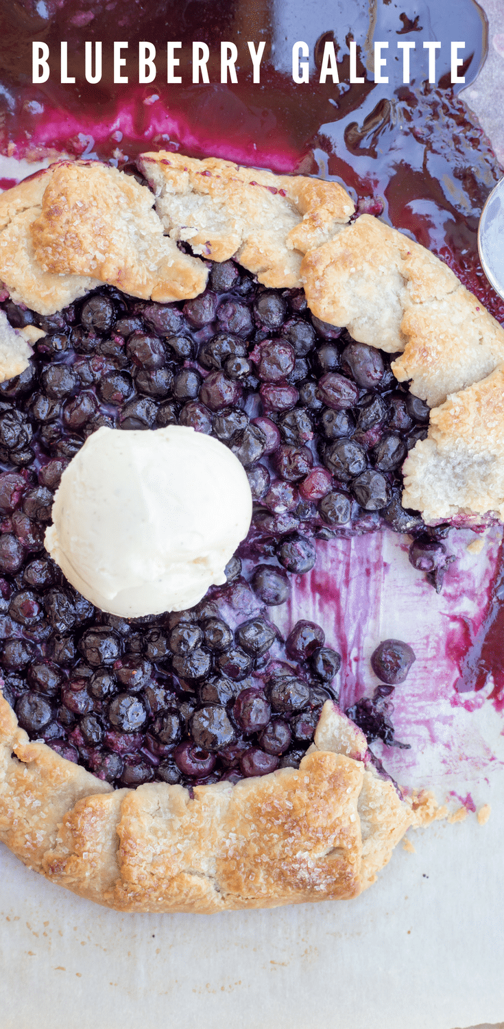 A blueberry galette is a perfect way to celebrate spring and summer. This galette uses an easy foolproof pie crust and its filling takes just 5 simple ingredients.