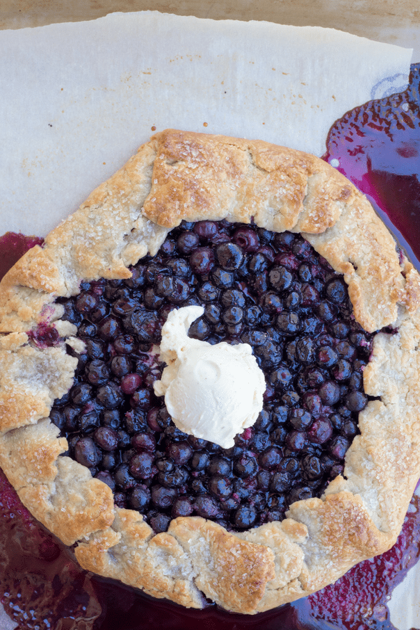 uncut blueberry galette with ice cream
