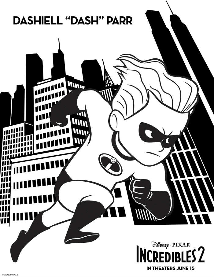 Incredibles 2 Coloring Pages Dash