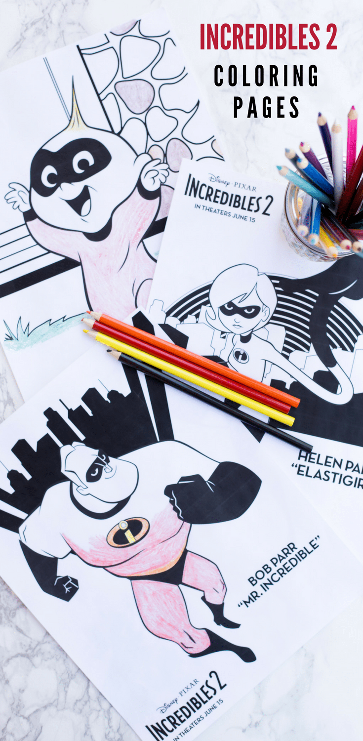 Incredibles 2 coloring pages are perfect for busting summertime boredom! Great for keeping kids busy on road trips. Simply download and print as many as you want!