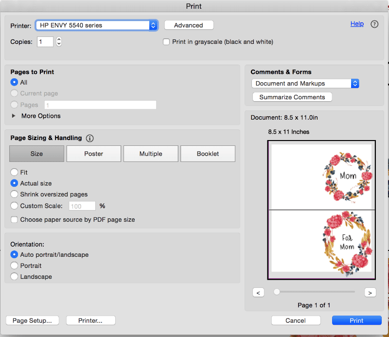 screenshot of popup printing options for Printable Mother's Day Cards