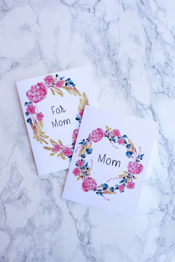 printable Mother's Day cards on white marble counter