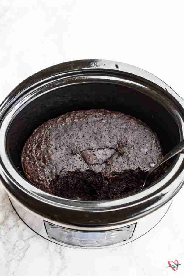 Finished slow cooker chocolate cake in slow cooker