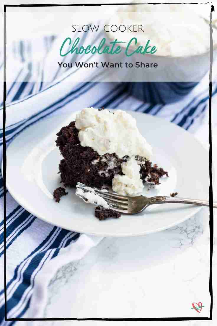 A slow cooker chocolate cake is an easy recipe that everyone loves! Serve with homemade whipped cream for the perfect dessert!