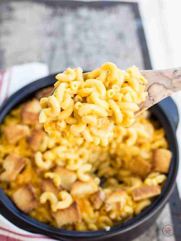 Mac and cheese on wooden spoon close up