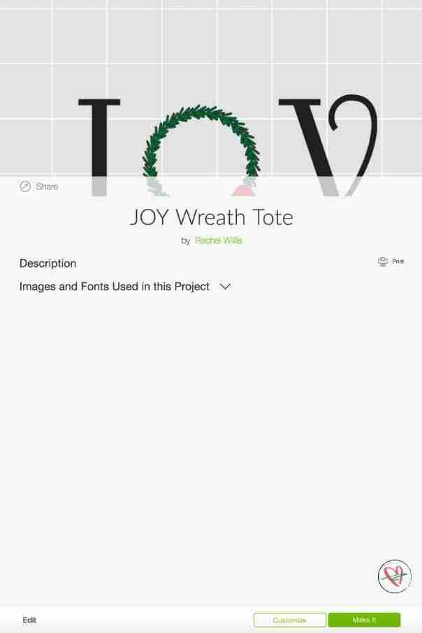 Joy tote project in design space