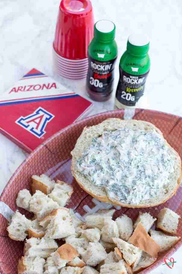 Spinach ham dip (spinach dip) with Shamrock Farms Rockin Protein, red cups and U of A napkins
