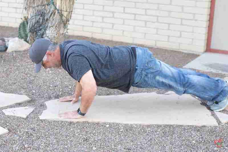 Man doing pushups ( spinach ham dip - spinach dip)