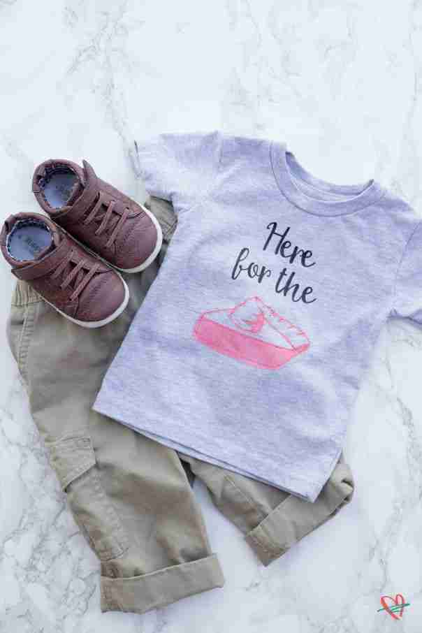 Here for the pie Thanksgiving tee flat lay with tan pants and brown shoes
