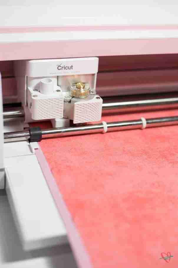 Cricut Maker cutting fabric for Thanksgiving tee