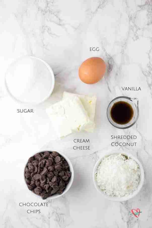 Flat lay of coconut fudge cake filling ingredients